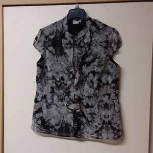 Black/grey abstract floral blouse, 20w